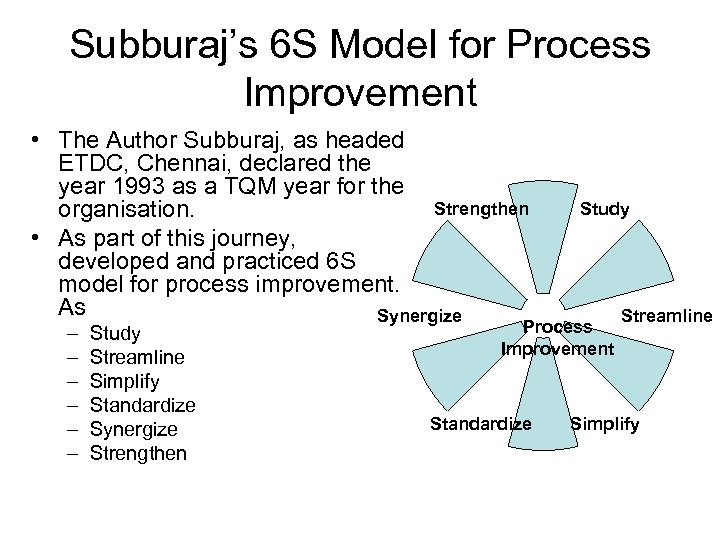 Subburaj's 6 S Model for Process Improvement • The Author Subburaj, as headed ETDC,