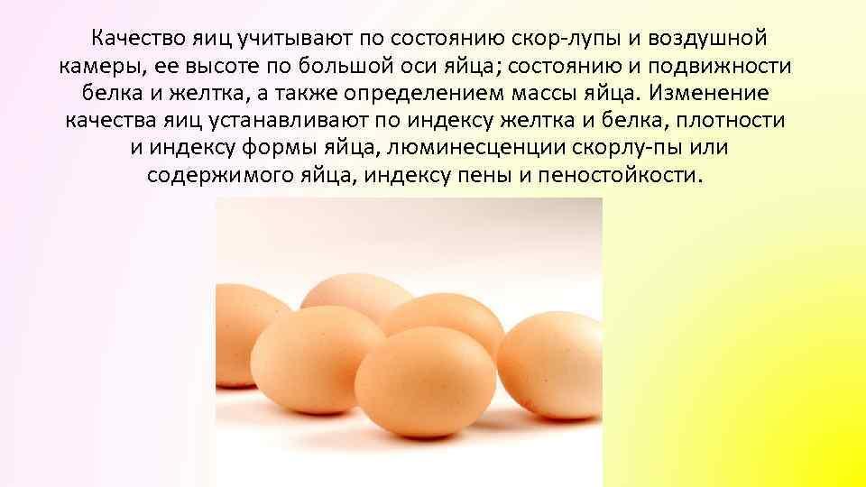 Качество яиц учитывают по состоянию скор лупы и воздушной камеры, ее высоте по большой