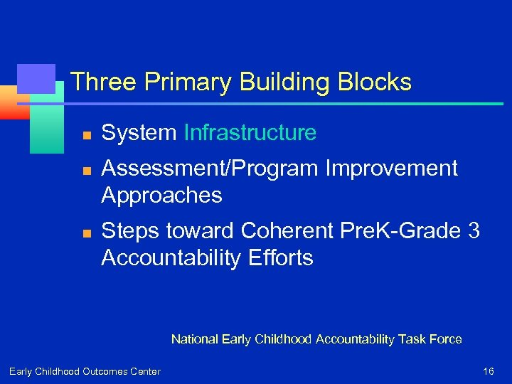 Three Primary Building Blocks n n n System Infrastructure Assessment/Program Improvement Approaches Steps toward