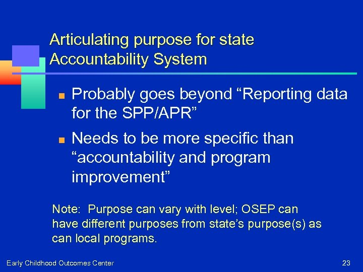 """Articulating purpose for state Accountability System n n Probably goes beyond """"Reporting data for"""