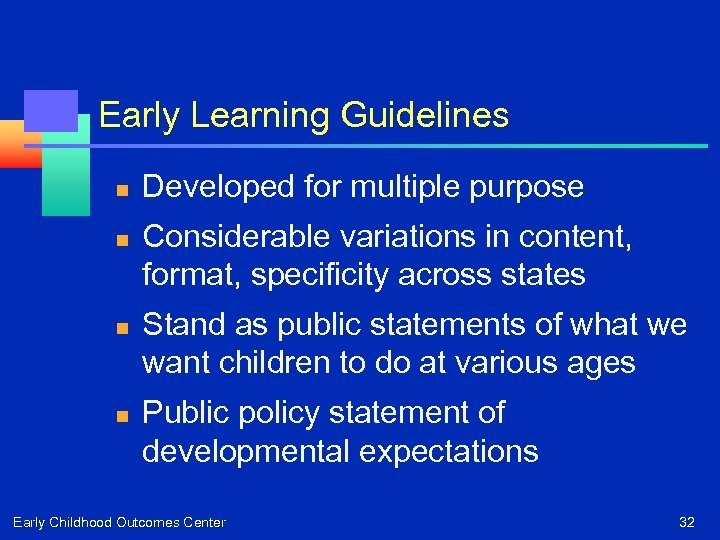 Early Learning Guidelines n n Developed for multiple purpose Considerable variations in content, format,
