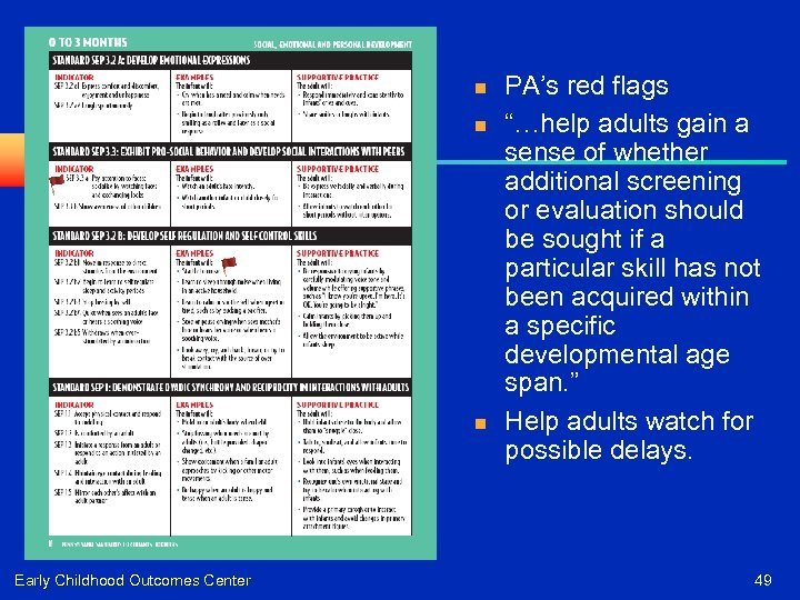 """n n n Early Childhood Outcomes Center PA's red flags """"…help adults gain a"""