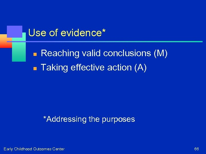 Use of evidence* n Reaching valid conclusions (M) n Taking effective action (A) *Addressing