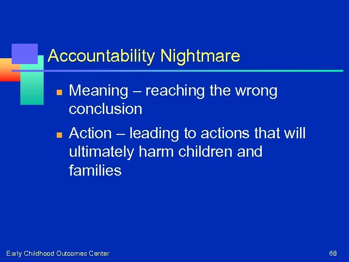 Accountability Nightmare n n Meaning – reaching the wrong conclusion Action – leading to