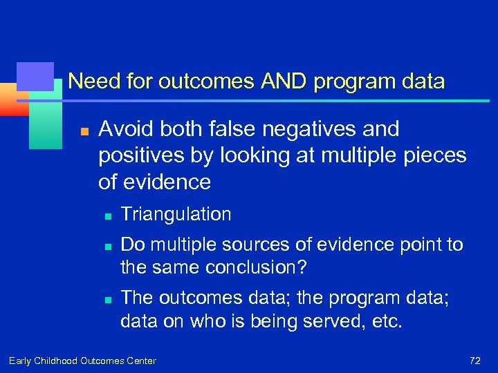 Need for outcomes AND program data n Avoid both false negatives and positives by