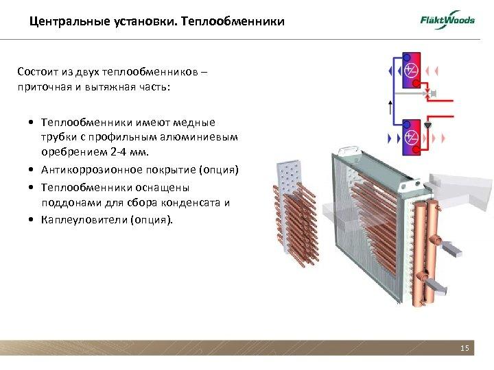 Центральные установки. Теплообменники Состоит из двух теплообменников – приточная и вытяжная часть: • Теплообменники