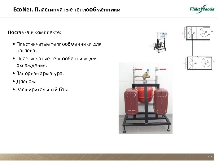 Eco. Net. Пластинчатые теплообменники Поставка в комплекте: • Пластинчатые теплообменники для нагрева. • Пластинчатые