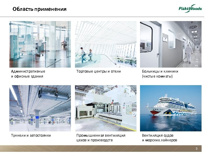 Область применения Административные и офисные здания Торговые центры и отели Больницы и клиники (чистые