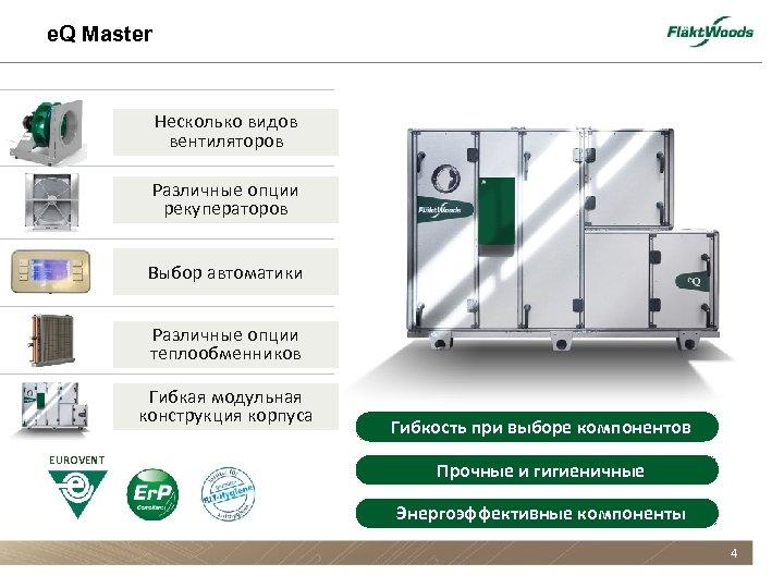 e. Q Master Несколько видов вентиляторов Различные опции рекуператоров Выбор автоматики Различные опции теплообменников