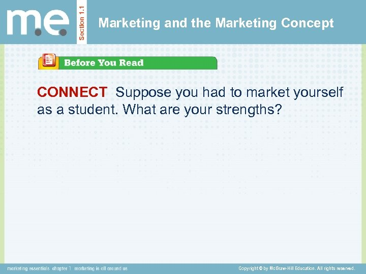Section 1. 1 Marketing and the Marketing Concept CONNECT Suppose you had to market