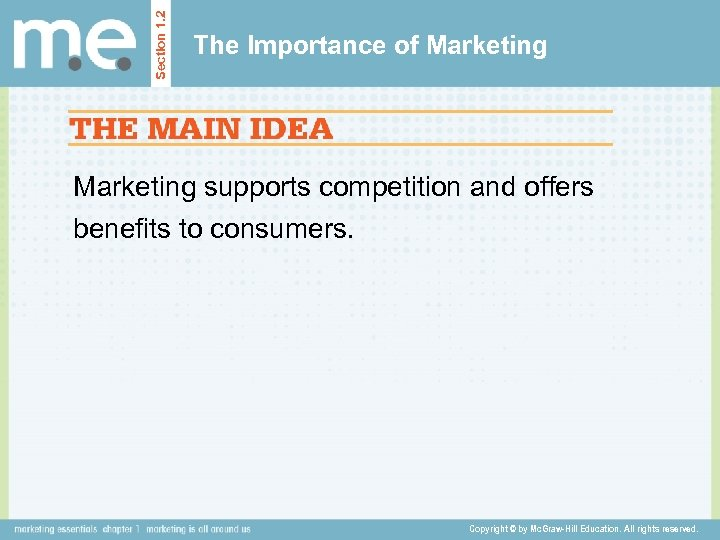 Section 1. 2 The Importance of Marketing supports competition and offers benefits to consumers.