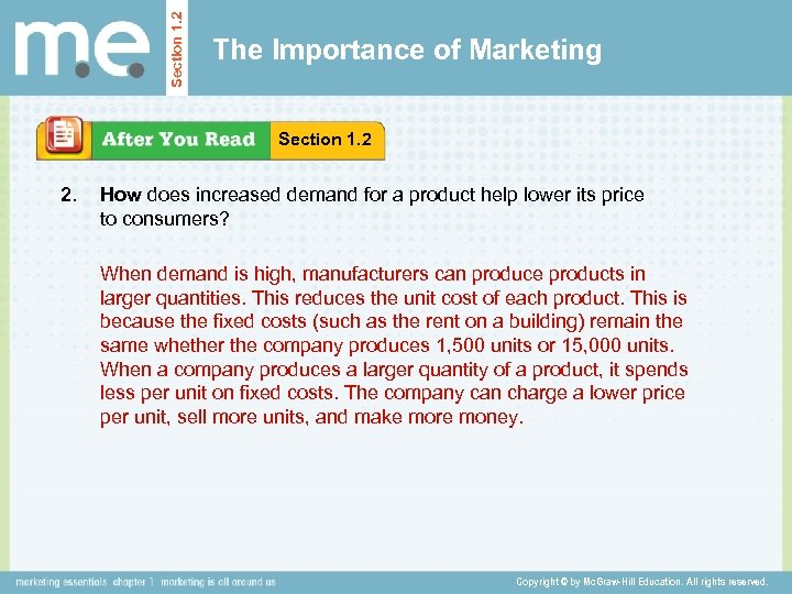 Section 1. 2 The Importance of Marketing Section 1. 2 2. How does increased