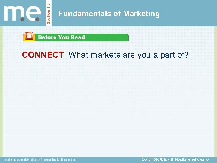 Section 1. 3 Fundamentals of Marketing CONNECT What markets are you a part of?