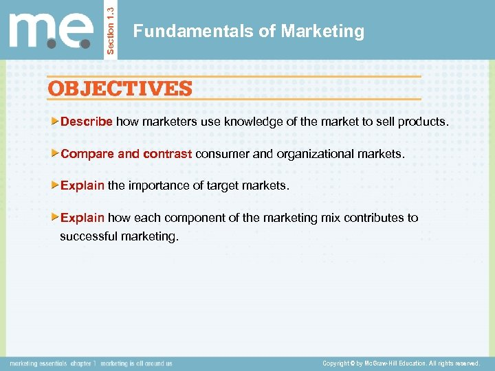 Section 1. 3 Fundamentals of Marketing Describe how marketers use knowledge of the market