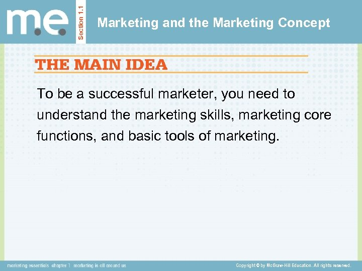 Section 1. 1 Marketing and the Marketing Concept To be a successful marketer, you