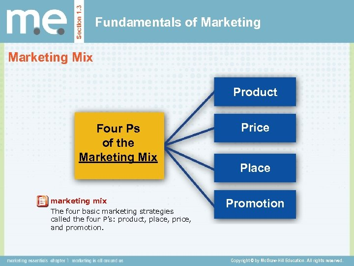 Section 1. 3 Fundamentals of Marketing Mix Product Four Ps of the Marketing Mix