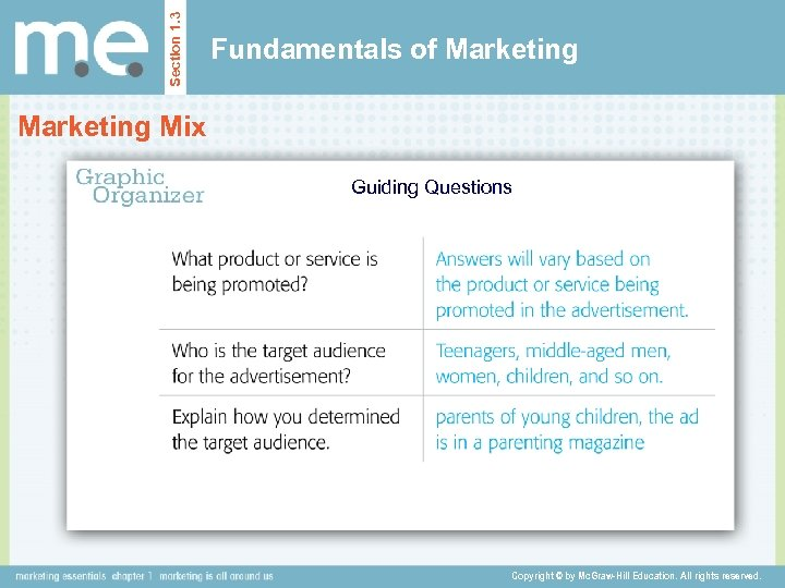 Section 1. 3 Fundamentals of Marketing Mix Guiding Questions Copyright © by Mc. Graw-Hill