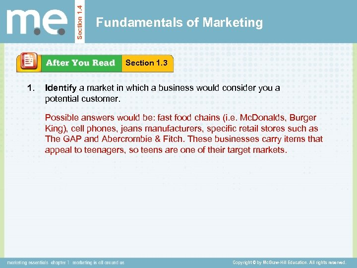 Section 1. 4 Fundamentals of Marketing Section 1. 3 1. Identify a market in