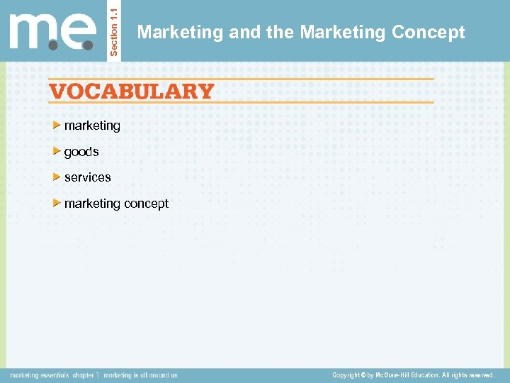 Section 1. 1 Marketing and the Marketing Concept marketing goods services marketing concept Copyright