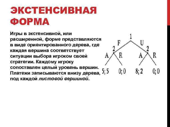 ЭКСТЕНСИВНАЯ ФОРМА Игры в экстенсивной, или расширенной, форме представляются в виде ориентированного дерева, где
