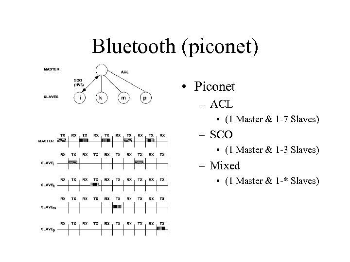 Bluetooth (piconet) • Piconet – ACL • (1 Master & 1 -7 Slaves) –