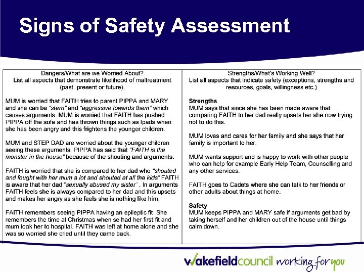 Signs of Safety Assessment