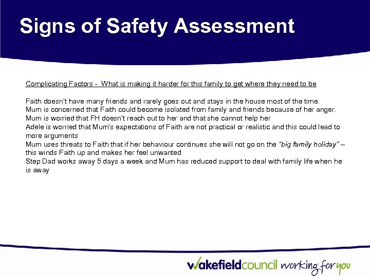 Signs of Safety Assessment Complicating Factors - What is making it harder for this