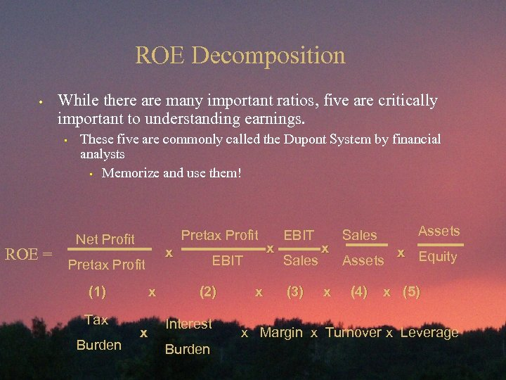 ROE Decomposition • While there are many important ratios, five are critically important to