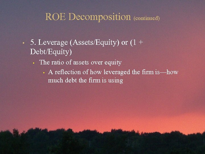 ROE Decomposition (continued) • 5. Leverage (Assets/Equity) or (1 + Debt/Equity) • The ratio