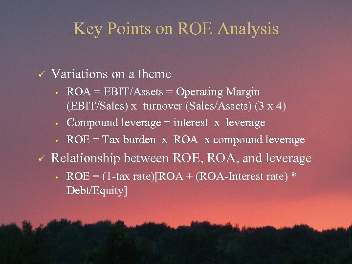Key Points on ROE Analysis ü Variations on a theme • • • ü
