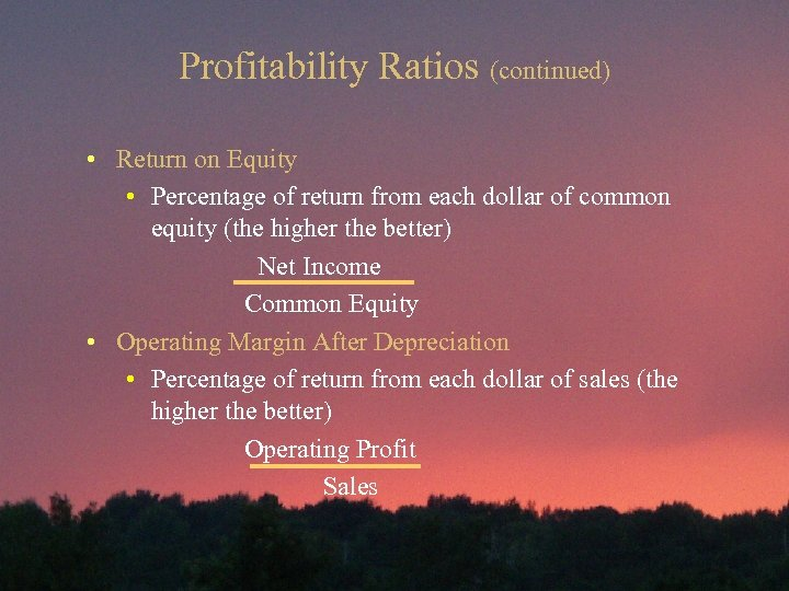 Profitability Ratios (continued) • Return on Equity • Percentage of return from each dollar