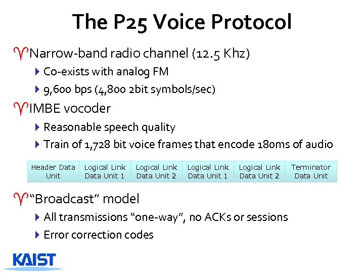 The P 25 Voice Protocol ^Narrow-band radio channel (12. 5 Khz) 4 Co-exists with