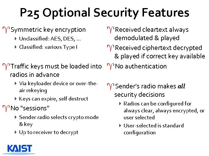 P 25 Optional Security Features ^Symmetric key encryption ^Received cleartext always demodulated & played
