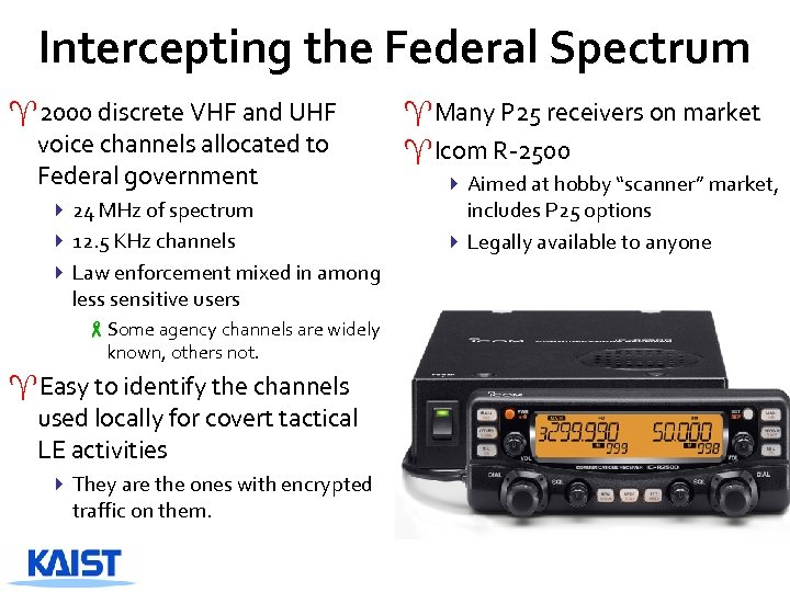 Intercepting the Federal Spectrum ^2000 discrete VHF and UHF voice channels allocated to Federal
