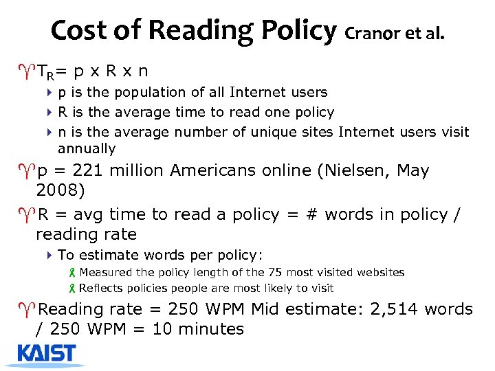 Cost of Reading Policy Cranor et al. ^TR= p x R x n 4
