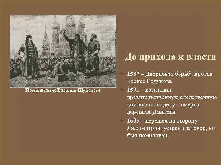 До прихода к власти Помилование Василия Шуйского v 1587 – Дворцовая борьба против Бориса