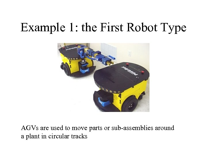 Example 1: the First Robot Type AGVs are used to move parts or sub-assemblies