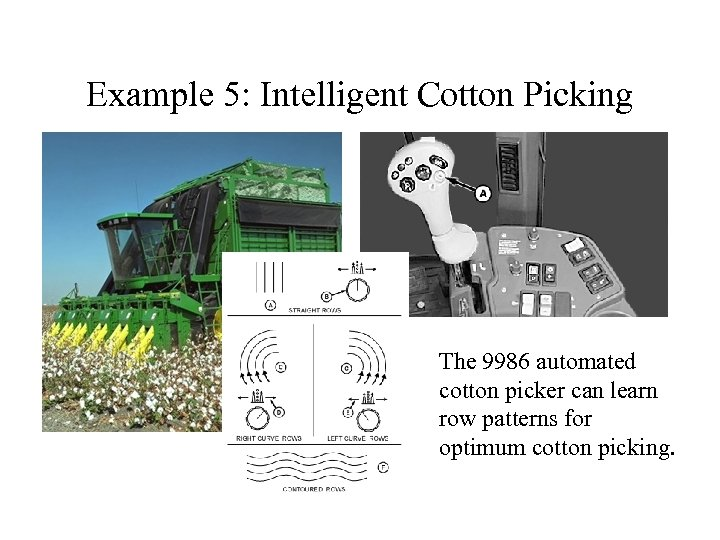 Example 5: Intelligent Cotton Picking The 9986 automated cotton picker can learn row patterns