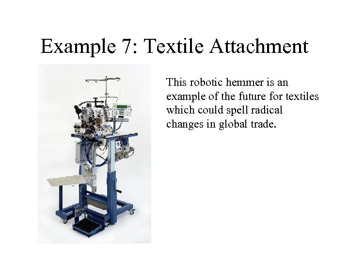 Example 7: Textile Attachment This robotic hemmer is an example of the future for