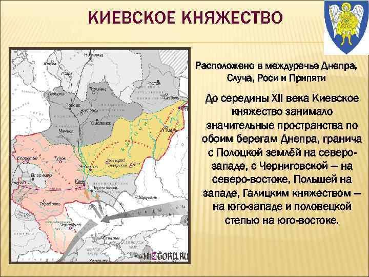 КИЕВСКОЕ КНЯЖЕСТВО Расположено в междуречье Днепра, Случа, Роси и Припяти До середины XII века