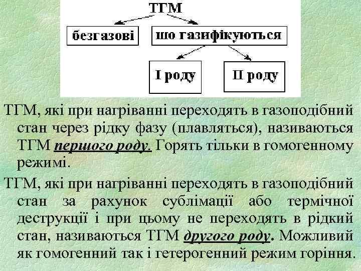ТГМ, які при нагріванні переходять в газоподібний стан через рідку фазу (плавляться), називаються ТГМ