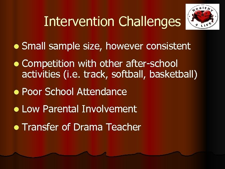 Intervention Challenges l Small sample size, however consistent l Competition with other after-school activities