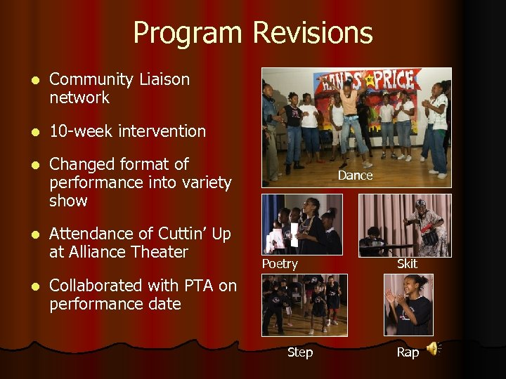 Program Revisions l Community Liaison network l 10 -week intervention l Changed format of