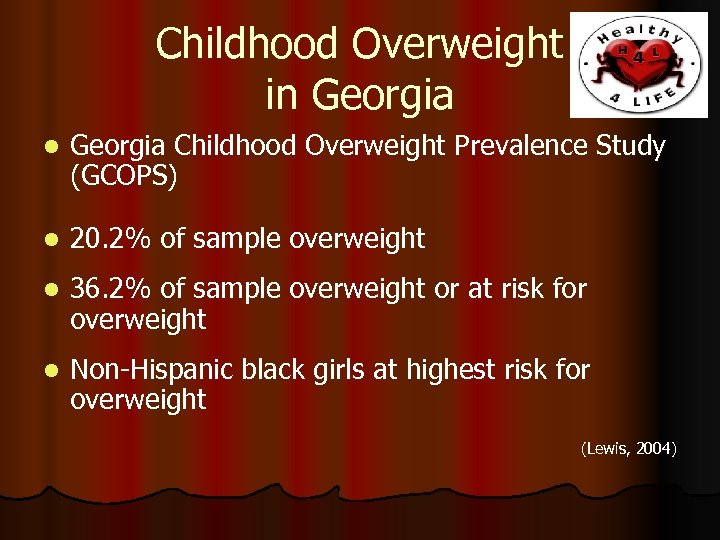 Childhood Overweight in Georgia l Georgia Childhood Overweight Prevalence Study (GCOPS) l 20. 2%