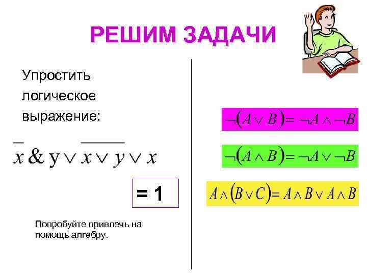 РЕШИМ ЗАДАЧИ Упростить логическое выражение: = 1 Попробуйте привлечь на помощь алгебру.
