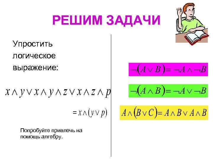 РЕШИМ ЗАДАЧИ Упростить логическое выражение: Попробуйте привлечь на помощь алгебру.