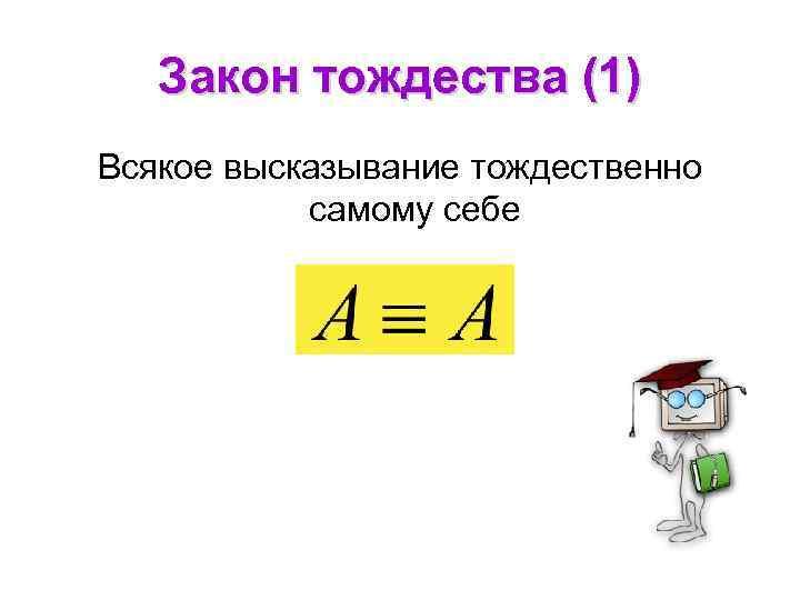 Закон тождества (1) Всякое высказывание тождественно самому себе