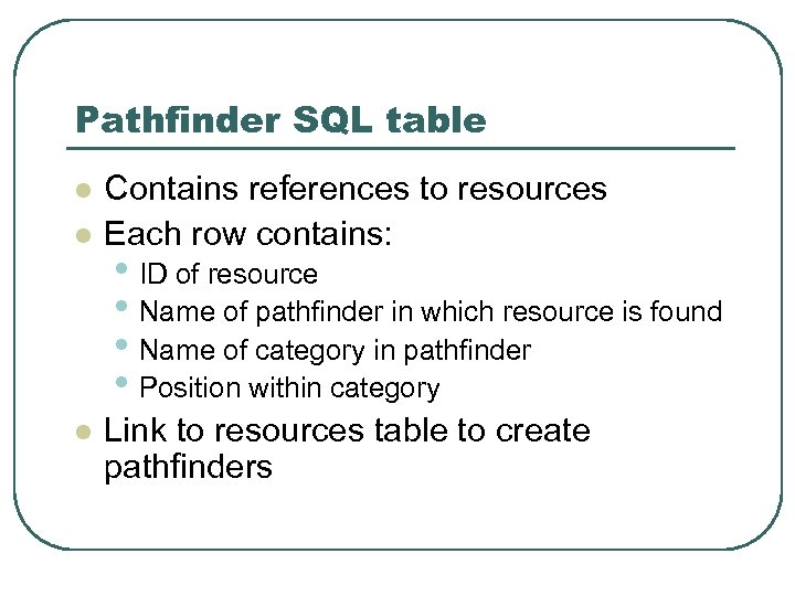 Pathfinder SQL table l l l Contains references to resources Each row contains: •