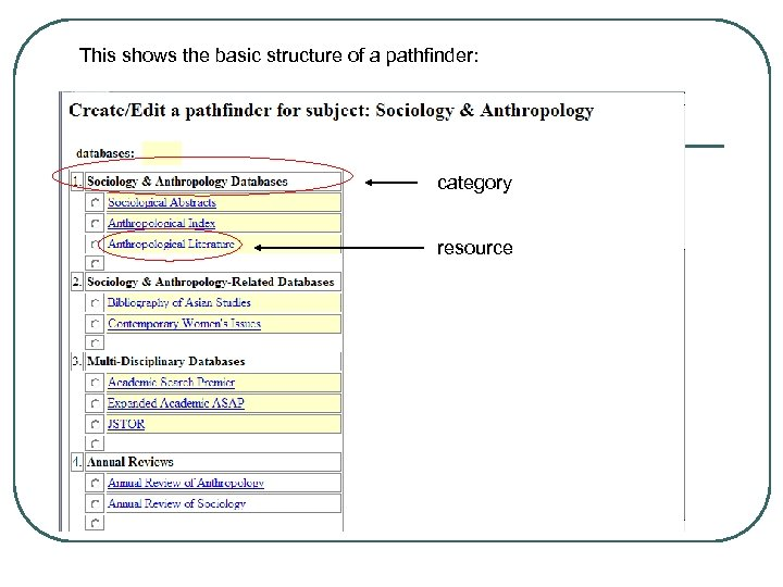 This shows the basic structure of a pathfinder: category resource