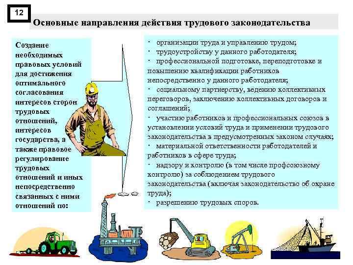 12 Основные направления действия трудового законодательства Создание необходимых правовых условий для достижения оптимального согласования